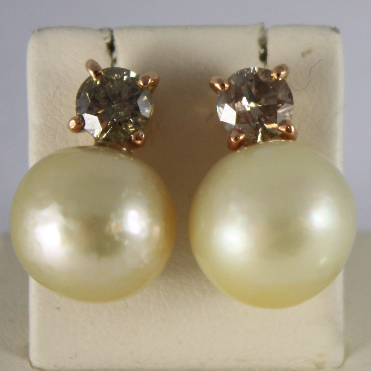 18K ROSE GOLD EARRINGS BROWN DIAMONDS CT1.48 CREAM SOUTH SEA PEARL MADE IN ITALY