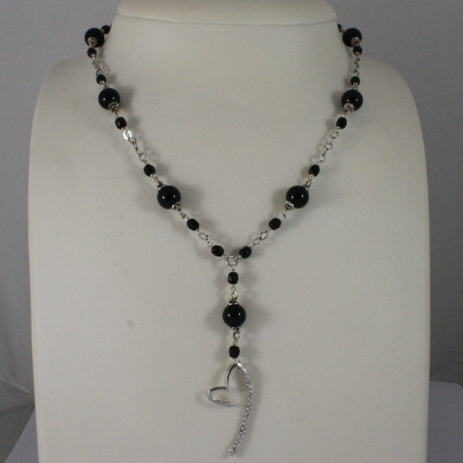 .925 SILVER RHODIUM NECKLACE WITH BLACK ONYX AND EXTENDED HEART WITH ZIRCONIA