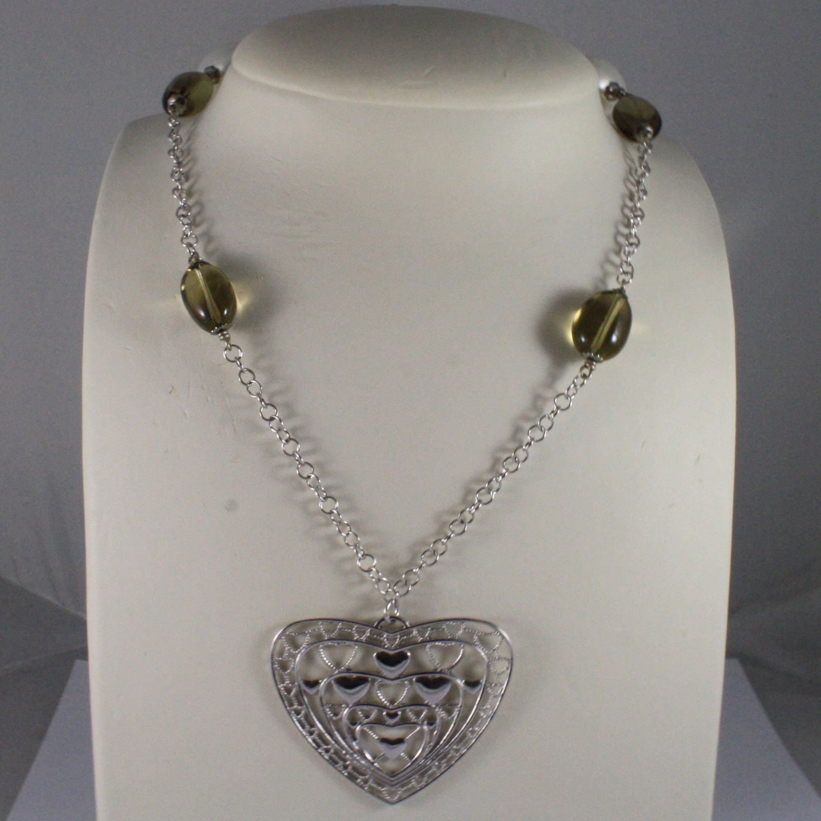 .925 SILVER RHODIUM NECKLACE WITH WHITE PEARLS, SMOKY QUARTZ AND HEART PENDANT