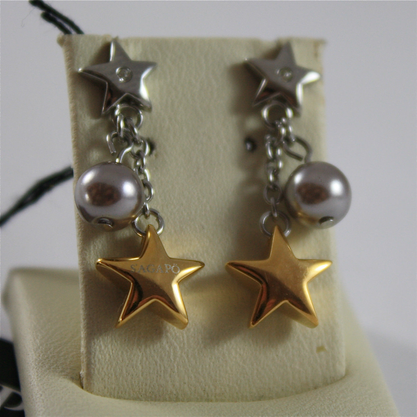 S'AGAPO' EARRINGS, 316L STEEL, PLATED STARS AND SPHERES, FACETED CRYSTALS.