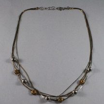 .925 SILVER RHODIUM AND YELLOW GOLD PLATED NECKLACE WITH SPHERES AND SUN image 2