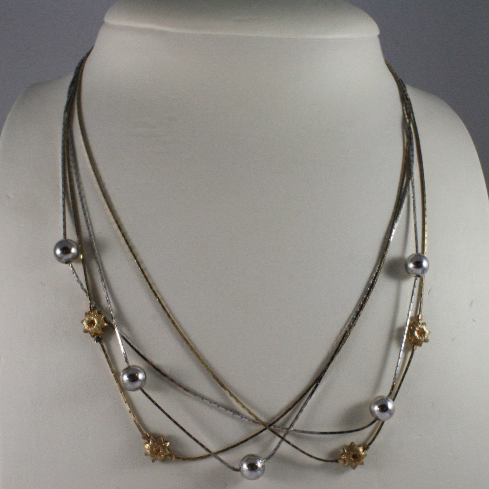 .925 SILVER RHODIUM AND YELLOW GOLD PLATED NECKLACE WITH SPHERES AND SUN