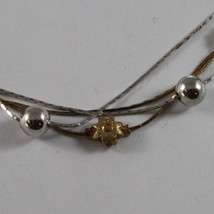 .925 SILVER RHODIUM AND YELLOW GOLD PLATED NECKLACE WITH SPHERES AND SUN image 3