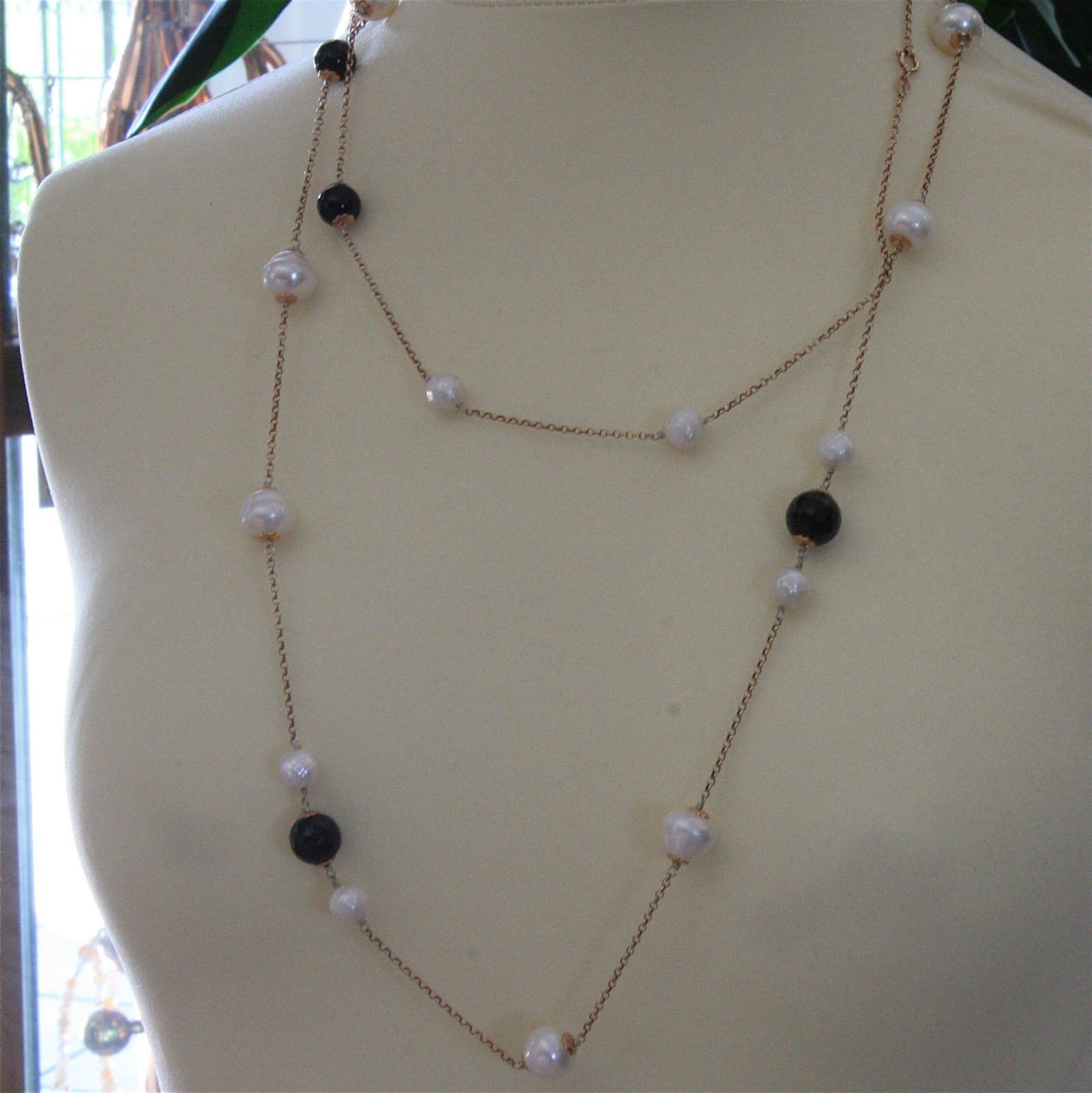 .925 SILVER RHODIUM NECKLACE 48,82 In, BLACK ONYX, WHITE & BAROQUE PEARLS.