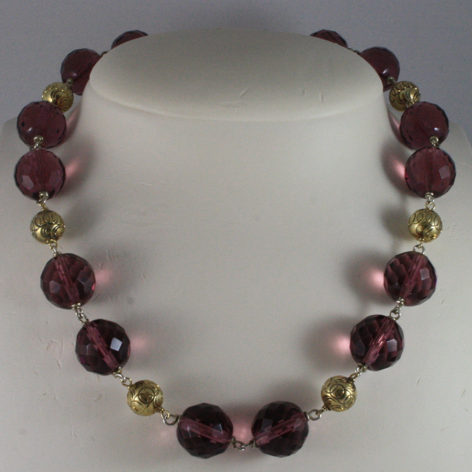.925 SILVER RHODIUM NECKLACE WITH PURPLE CRYSTALS AND YELLOW GOLD PLATED SPHERES