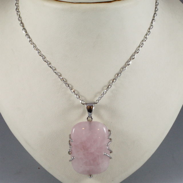 18K 750 WHITE GOLD NECKLACE WITH ROSE QUARTZ PENDANT, MADE IN ITALY