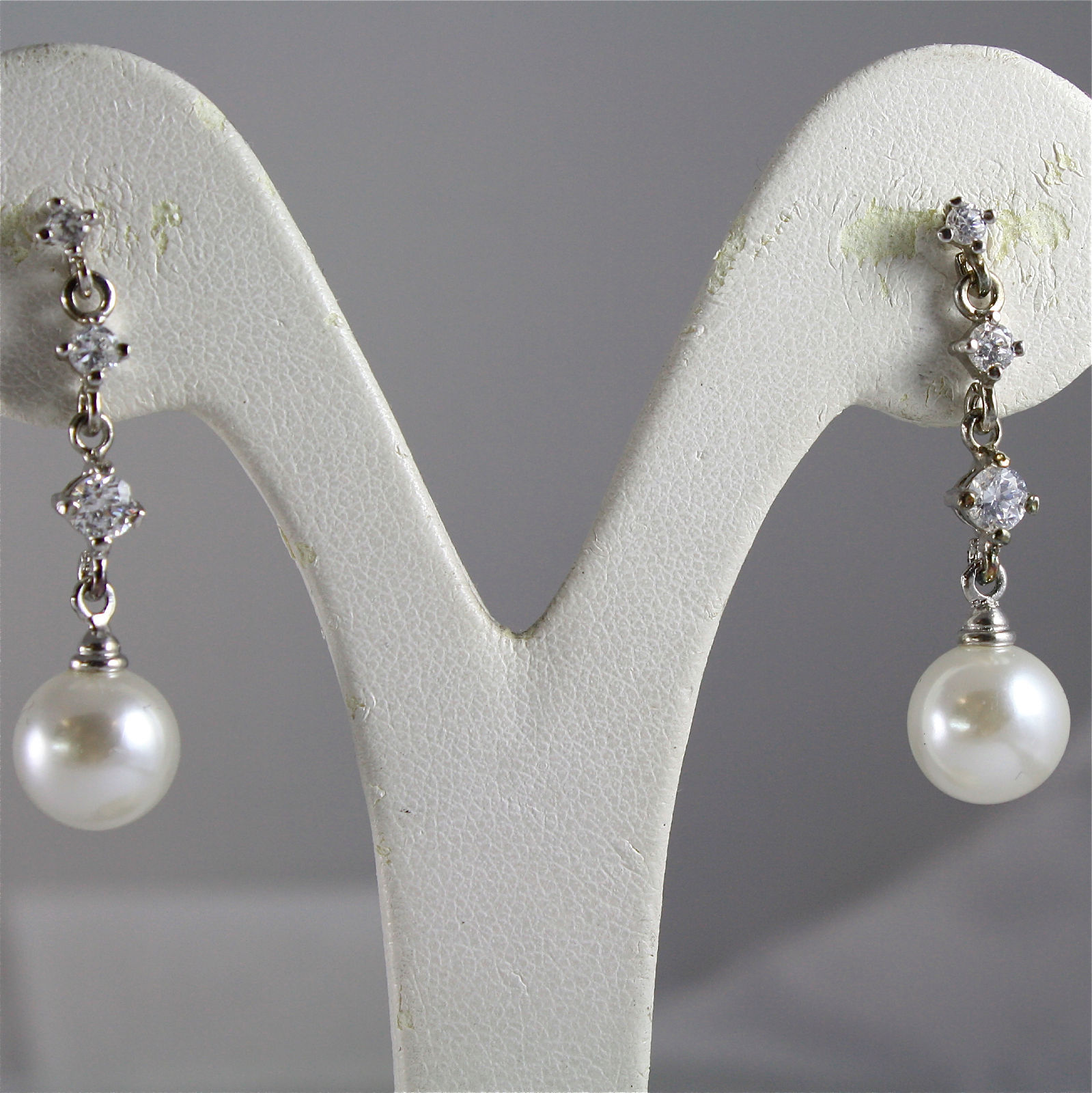 .925 RHODIUM SILVER EARRINGS, PENDANT, WHITE NATURAL PEARLS, ZIRCONIA