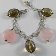 .925 Rhodium Silver Bracelet With Pink Facedet Quartz And Lemon Quartz - $97.81