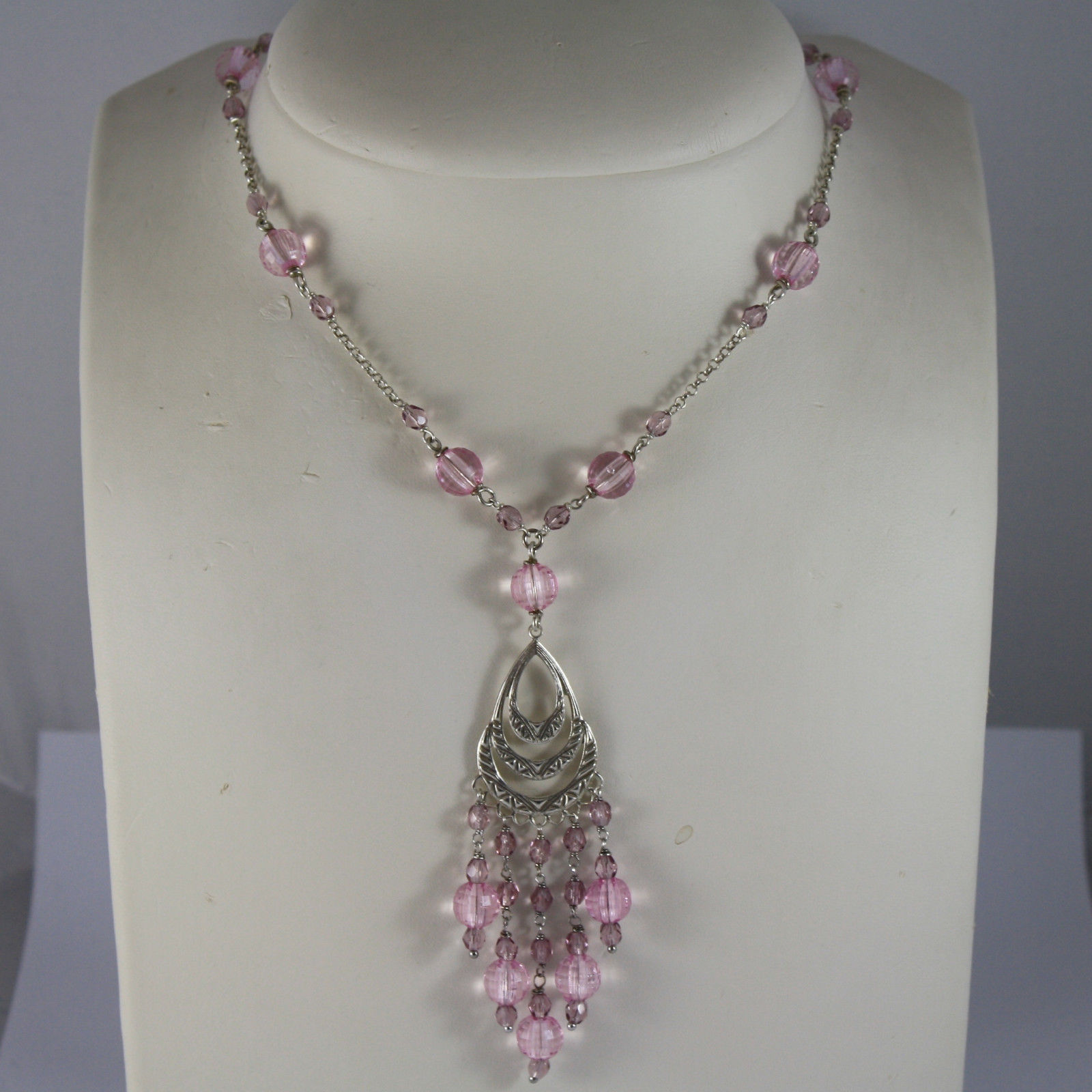 .925 RHODIUM SILVER NECKLACE WITH LILAC AND PINK CRISTAL AND A PERFORATED PLATE