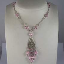 .925 RHODIUM SILVER NECKLACE WITH LILAC AND PINK CRISTAL AND A PERFORATED PLATE image 1