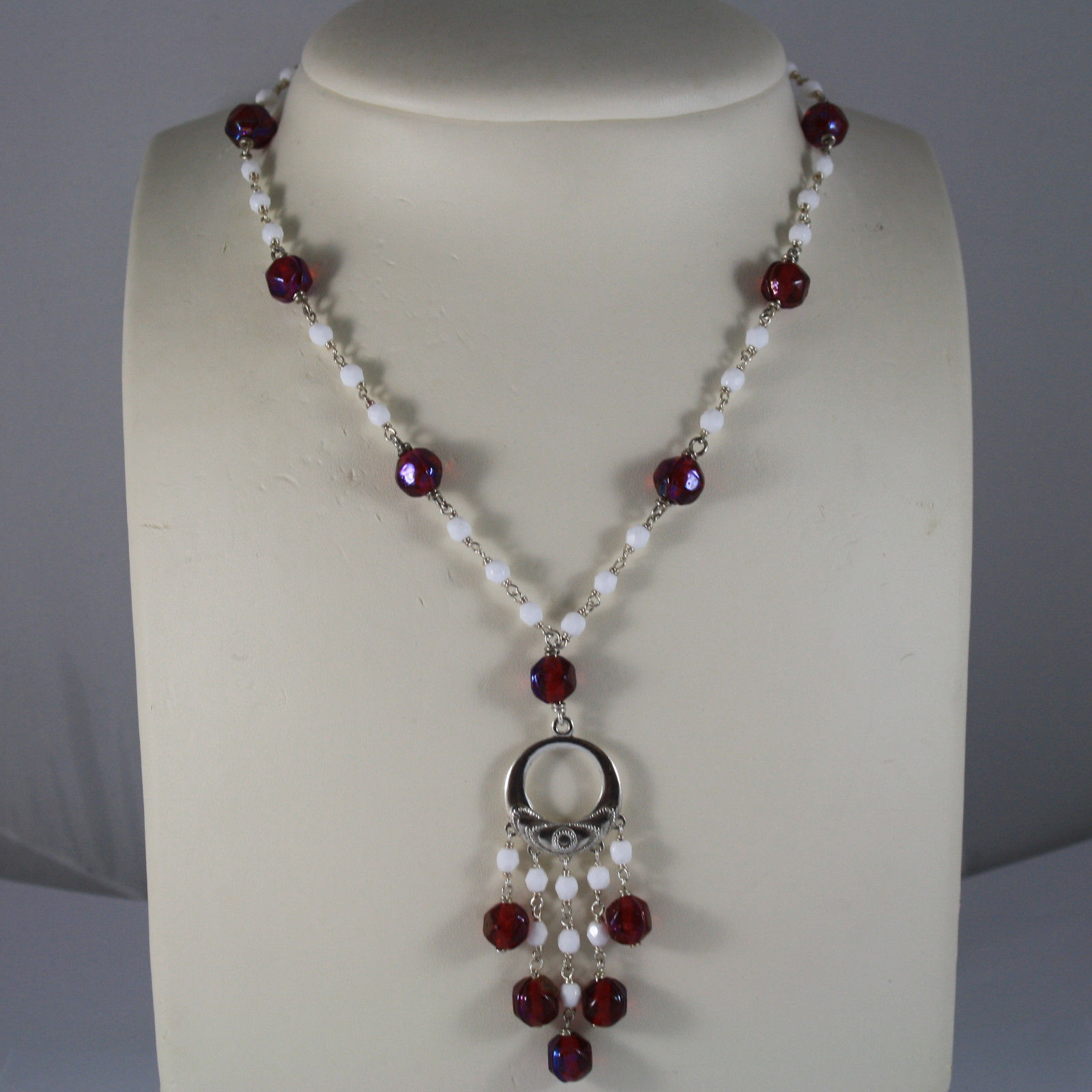 .925 RHODIUM SILVER NECKLACE WITH RED CRYSTALS AND WHITE AGATE