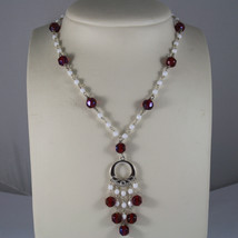 .925 RHODIUM SILVER NECKLACE WITH RED CRYSTALS AND WHITE AGATE image 1