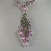 .925 RHODIUM SILVER NECKLACE WITH LILAC AND PINK CRISTAL AND A PERFORATED PLATE image 2