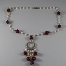 .925 RHODIUM SILVER NECKLACE WITH RED CRYSTALS AND WHITE AGATE image 2