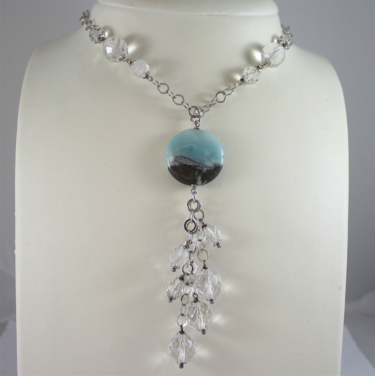 .925 RHODIUM SILVER NECKLACE WITH CRISTALS, SPOTTED QUARTZ PENDANT.