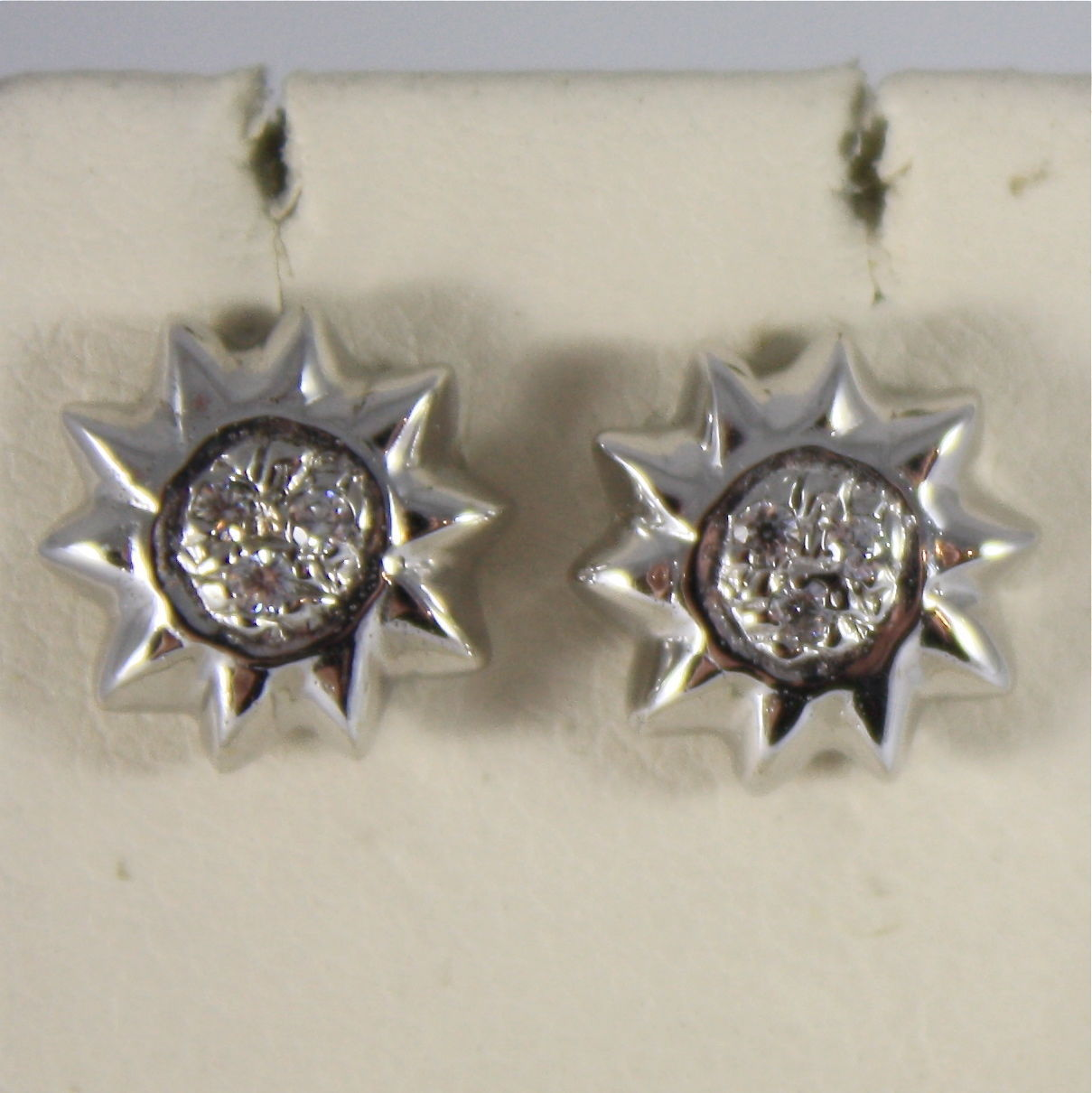 SOLID 18K WHITE GOLD EARRINGS SUN WITH ZIRCONIA MADE IN ITALY