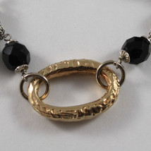 .925 RHODIUM SILVER BRACELET WITH GOLDEN OVAL AND BLACK ONYX image 2
