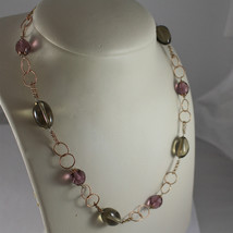 .925 RHODIUM SILVER NECKLACE, ROSE PLATED, PURPLE CRISTALS, SMOKEY QUARTZ.