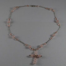 .925 RHODIUM SILVER NECKLACE WITH PINK QUARTZ , PINK CRYSTALS AND CROSS image 2