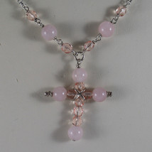 .925 RHODIUM SILVER NECKLACE WITH PINK QUARTZ , PINK CRYSTALS AND CROSS image 3