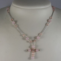 .925 RHODIUM SILVER NECKLACE WITH PINK QUARTZ , PINK CRYSTALS AND CROSS