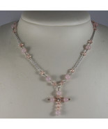.925 RHODIUM SILVER NECKLACE WITH PINK QUARTZ , PINK CRYSTALS AND CROSS - $73.15