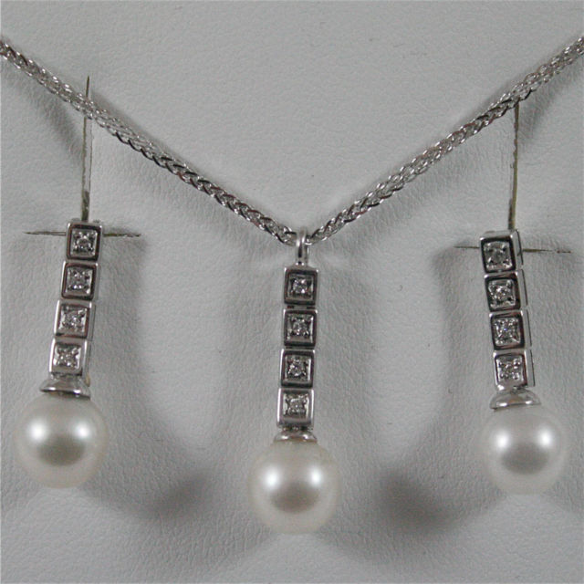 18K WHITE GOLD PARURE, NECKLACE AND EARRINGS, DIAMOND AND PEARL, MADE IN ITALY
