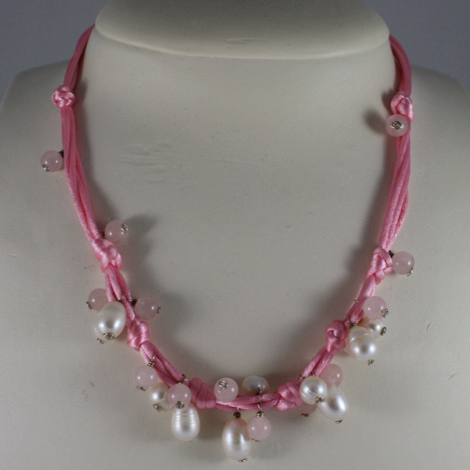 .925 SILVER RHODIUM NECKLACE WITH PINK CORD, WHITE PEARLS AND PINK QUARTZ