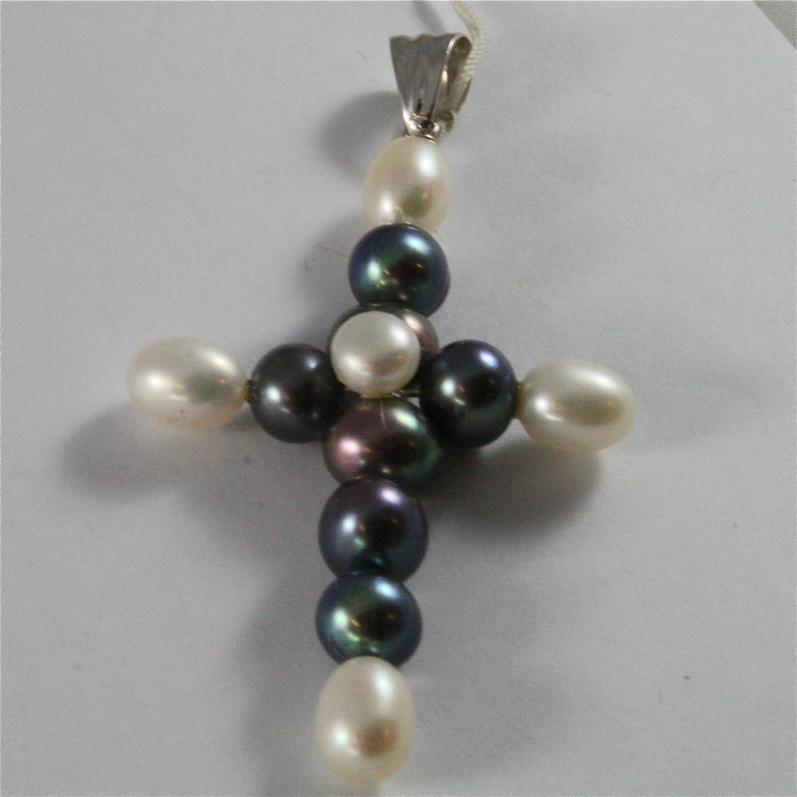 SOLID 18K WHITE GOLD PENDANT, 2,95 X 1,57 In, CROSS, BLACK & WHITE PEARLS.