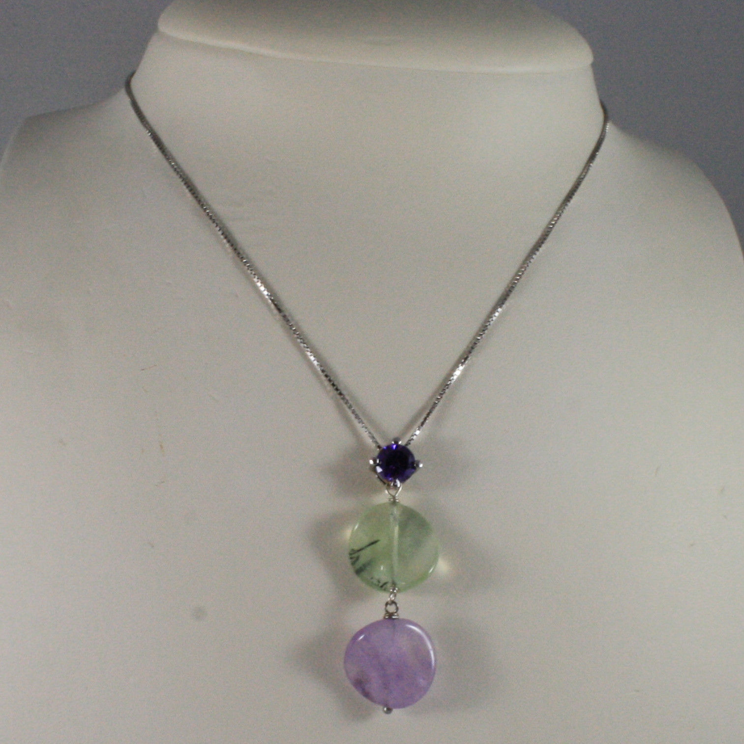 .925 SILVER RHODIUM NECKLACE WITH PURPLE CRYSTALS, GREEN QUARTZ AND AMETHYST
