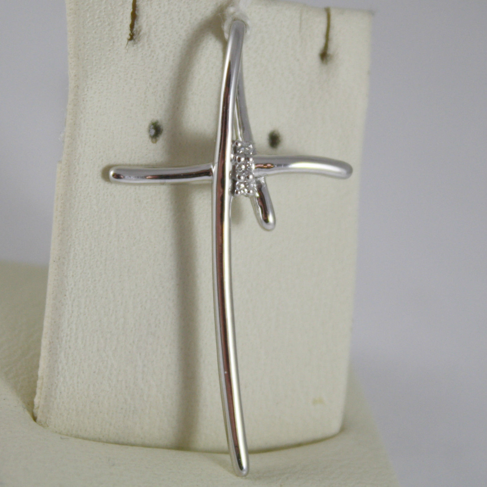 SOLID 18K RHODIUM WHITE GOLD CROSS PENDANT WITH DIAMONDS, MODERN, MADE IN ITALY