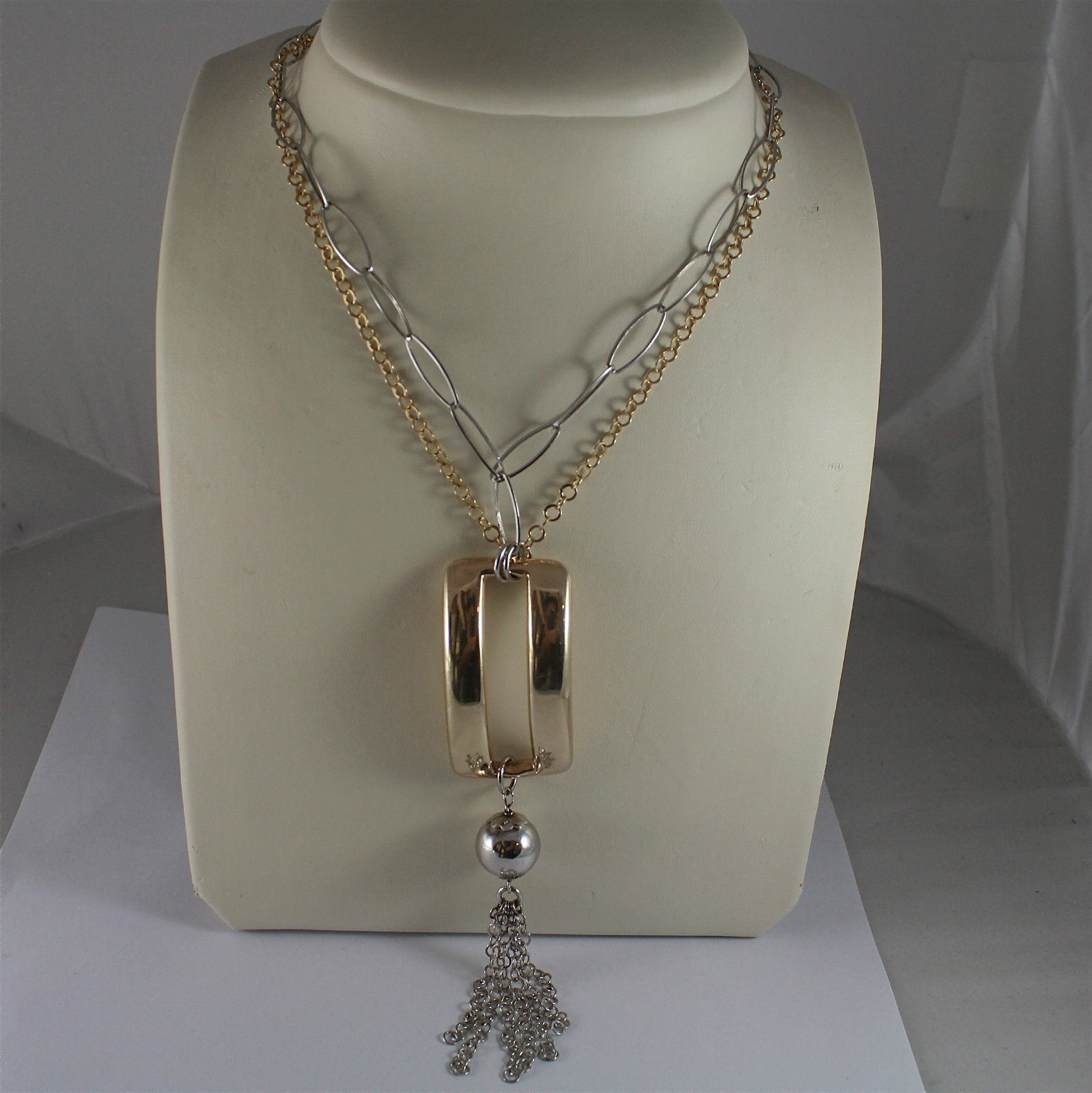 .925 RHODIUM SILVER NECKLACE, SCARF, DOUBLE MESH,  GOLD PLATED PENDANT, LIGHT..