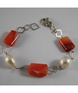 .925 RHODIUM SILVER BRACELET WITH BAROQUE WHITE PEARLS AND ORANGE AGATE - $137.75