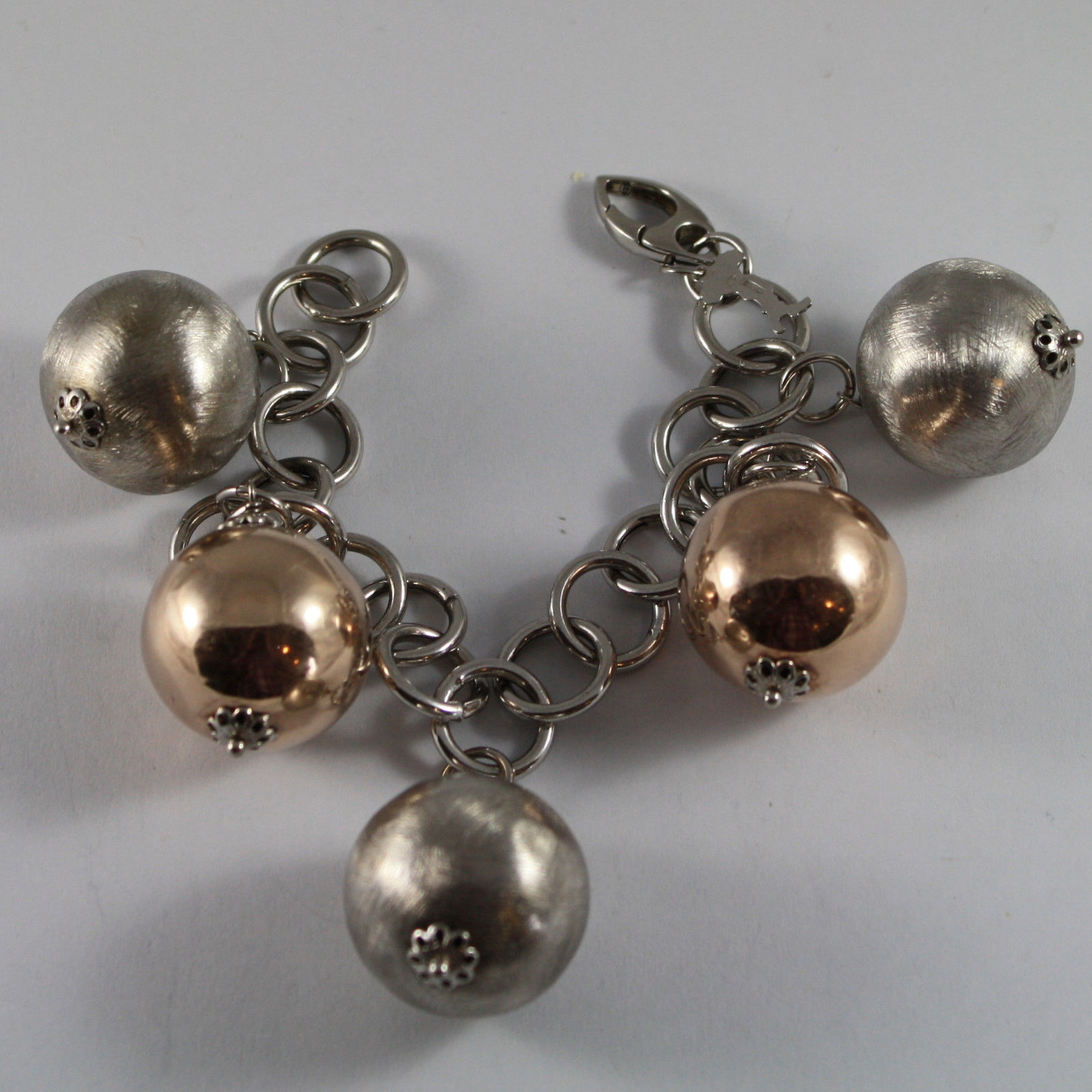 .925 RHODIUM SILVER AND ROSE GOLD PLATED BRACELET WITH BIG BALLS