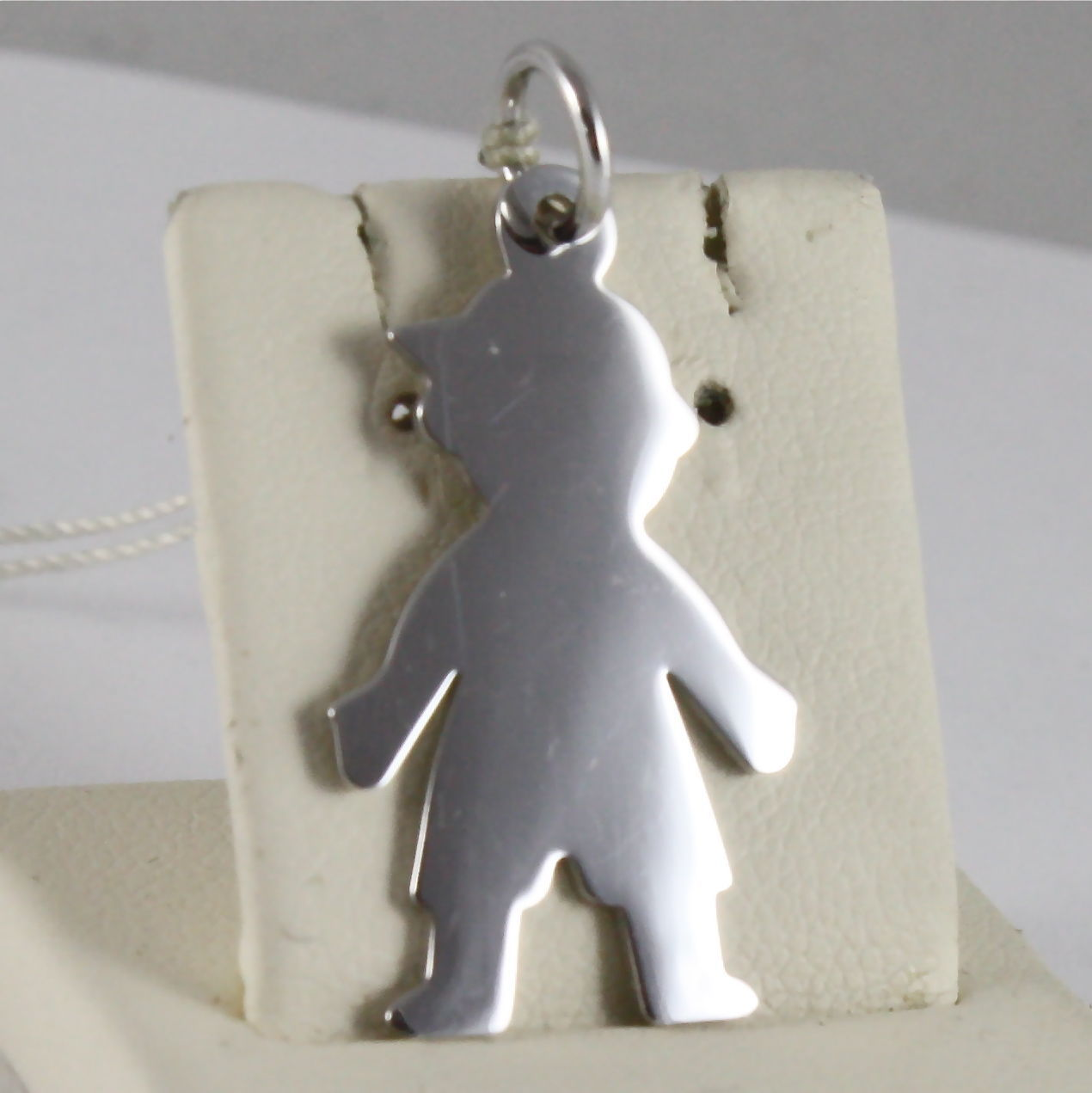 SOLID 18K WHITE GOLD BOY PENDANT, BABY, MADE IN ITALY