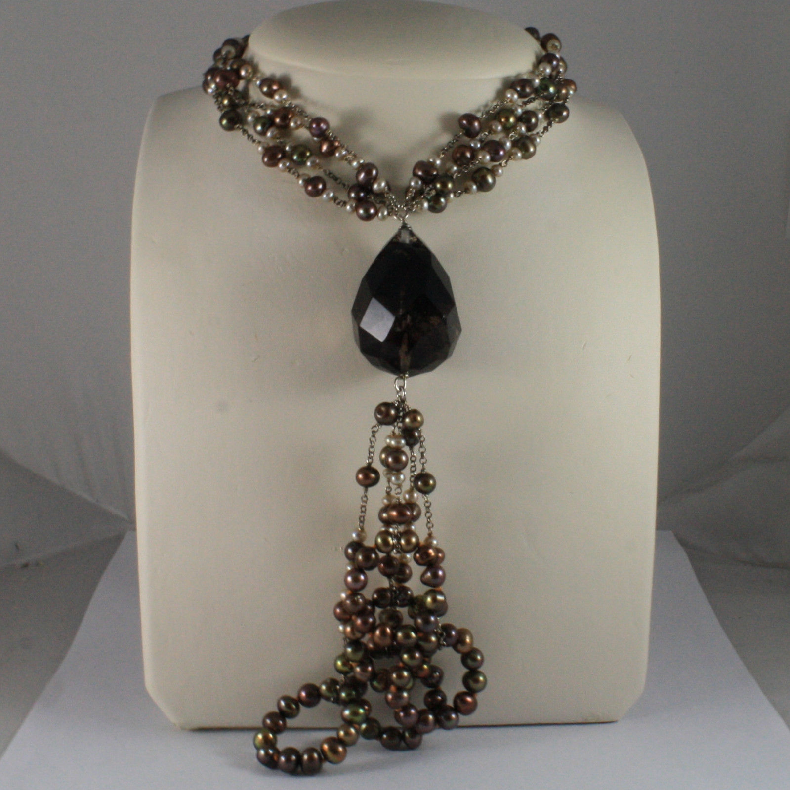 .925 SILVER RHODIUM NECKLACE WITH MULTI-COLOR PEARLS AND DROP OF SMOKY QUARTZ