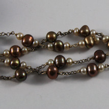 .925 SILVER RHODIUM NECKLACE WITH MULTI-COLOR PEARLS AND DROP OF SMOKY QUARTZ image 3