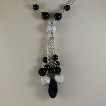 .925 RHODIUM SILVER NECKLACE WITH BLACK ONYX AND WHITE HOWLITE image 3