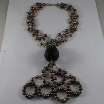 .925 SILVER RHODIUM NECKLACE WITH MULTI-COLOR PEARLS AND DROP OF SMOKY QUARTZ image 2
