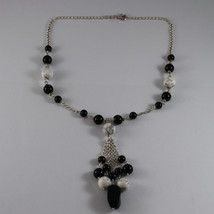 .925 RHODIUM SILVER NECKLACE WITH BLACK ONYX AND WHITE HOWLITE image 2