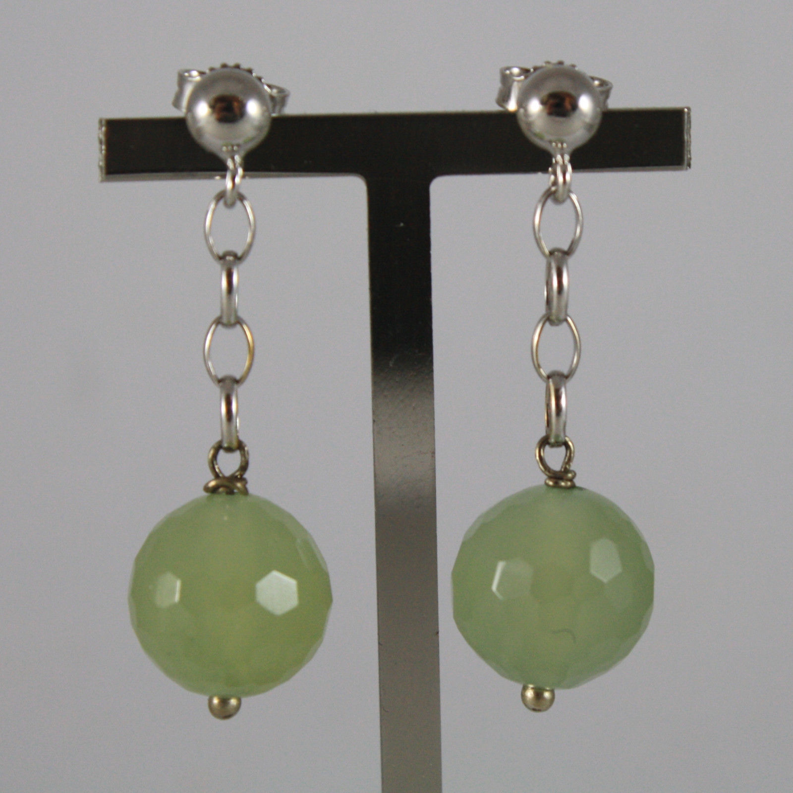SOLID 18K WHITE GOLD EARRINGS, WITH FACETED GREEN JADE,  MADE IN ITALY