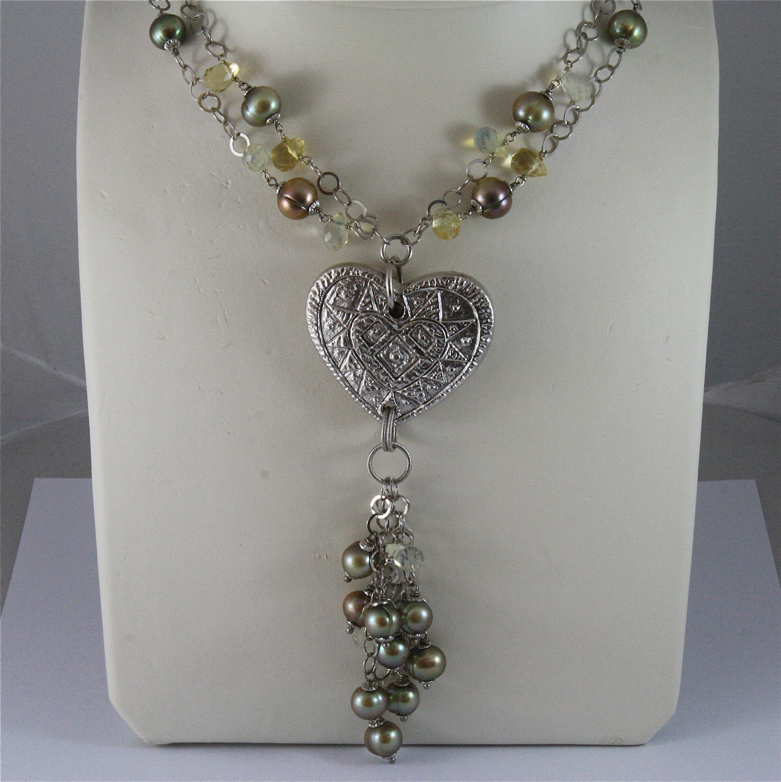 .925 SILVER RHODIUM NECKLACE 17,72 In, GREEN PEARLS, HAMMERED CENTRAL HEART.