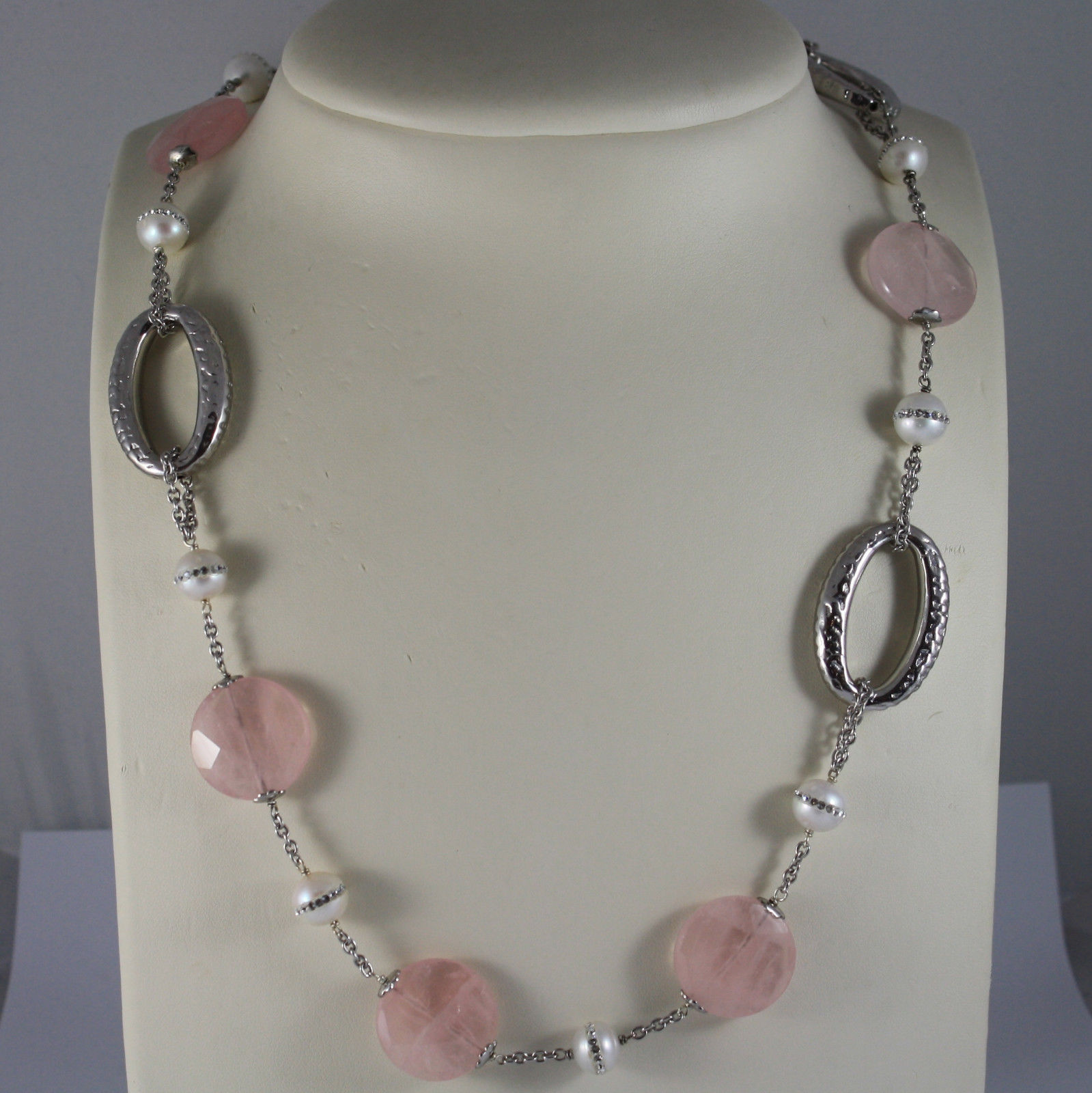 .925 RHODIUM SILVER NECKLACE WITH PINK QUARTZ AND WHITE PEARLS WITH ZIRCONIA