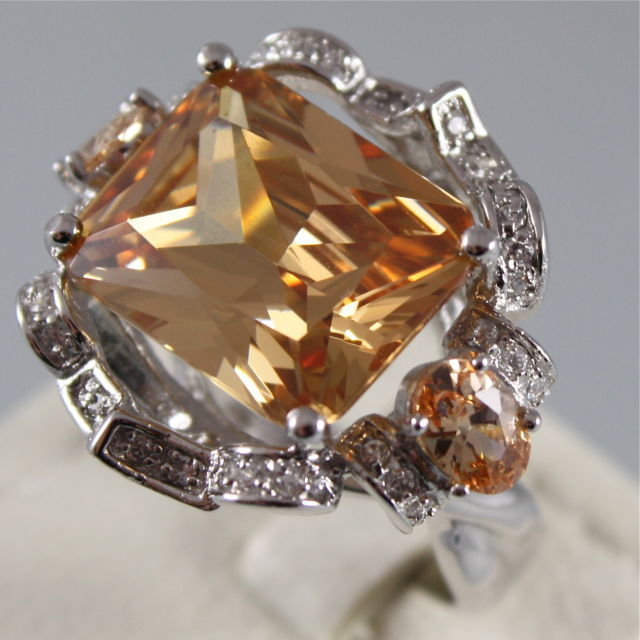 925 RHODIUM SILVER RING, ORANGE CRISTAL