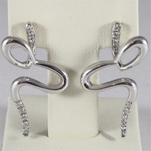 18K WHITE GOLD DIAMONDS SNAKE PENDANT EARRINGS, CT0.07, COLOR H, MADE IN ITALY