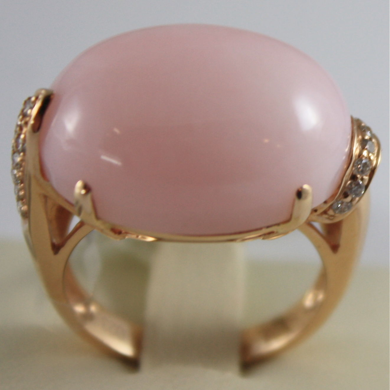 SOLID 18K ROSE GOLD RING WITH CABOCHON OPAL AND DIAMONDS CT 0,23, MADE IN ITALY