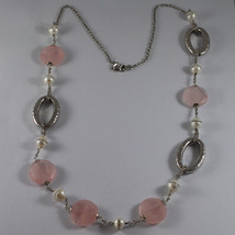 .925 RHODIUM SILVER NECKLACE WITH PINK QUARTZ AND WHITE PEARLS WITH ZIRCONIA image 2