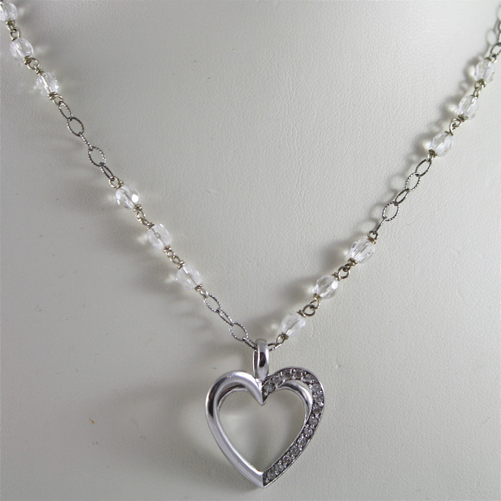.925 RHODIUM SILVER NECKLACE WITH HEART PENDANT, CRISTAL AND ZIRCONIA