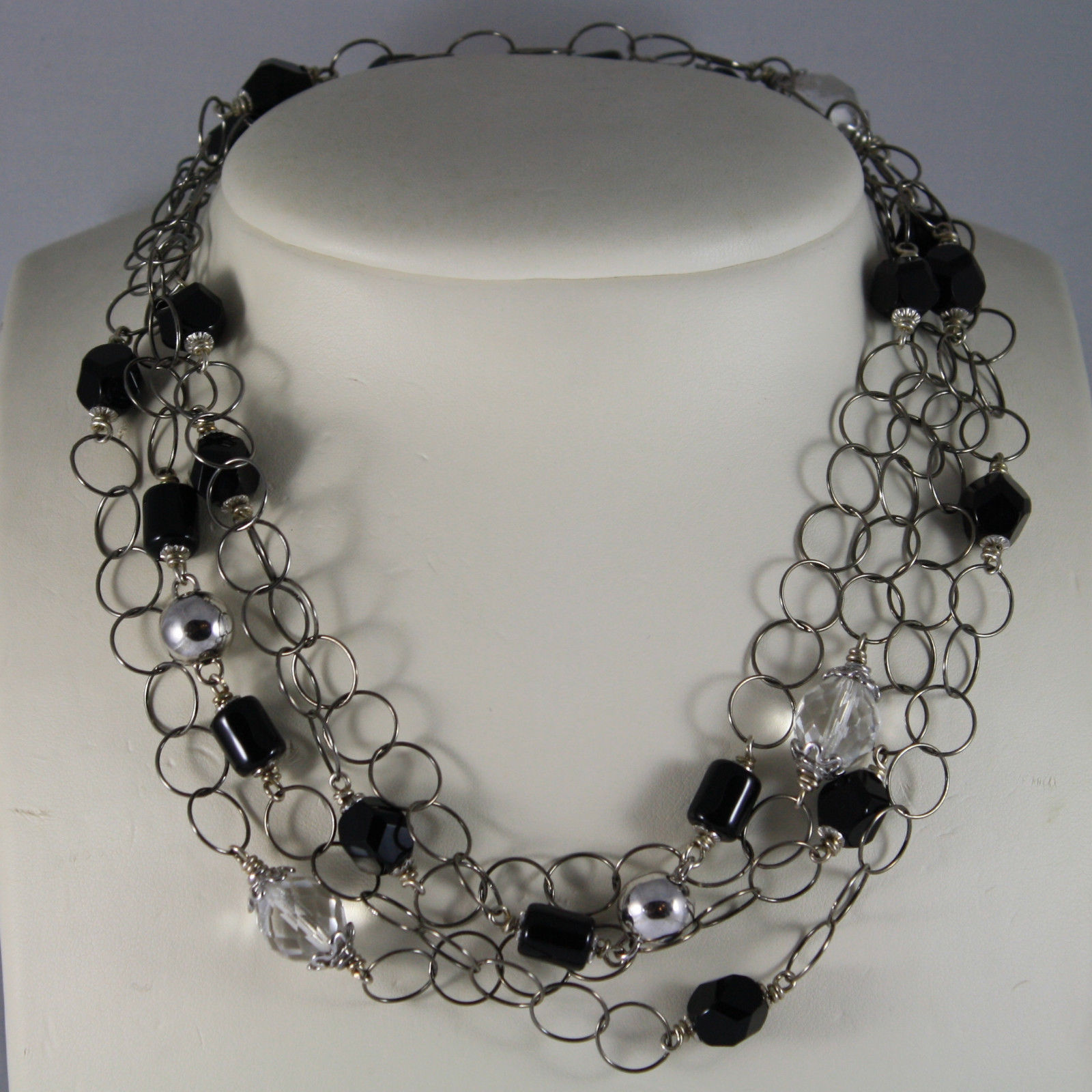 .925 RHODIUM SILVER DOUBLE NECKLACE WITH BLACK ONYX AND TRANSPARENT CRYSTALS