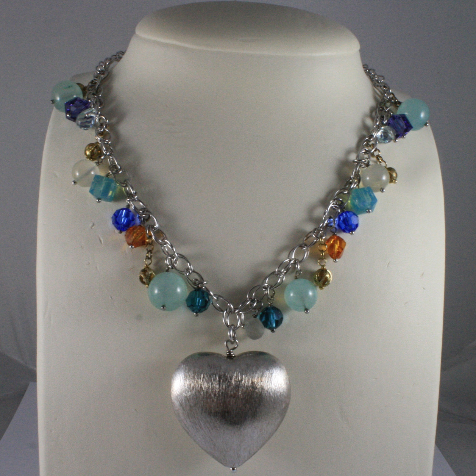.925 SILVER RHODIUM NECKLACE WITH AQUAMARINE, MULTI-COLOR CRYSTALS, PINK QUARTZ